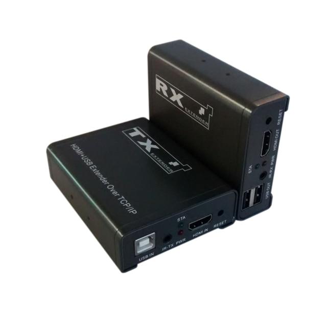 100 M HDMI extender único através cat5e/6, com controle infravermelho + cabo USB único para a transmissão de longa distância de alta definição