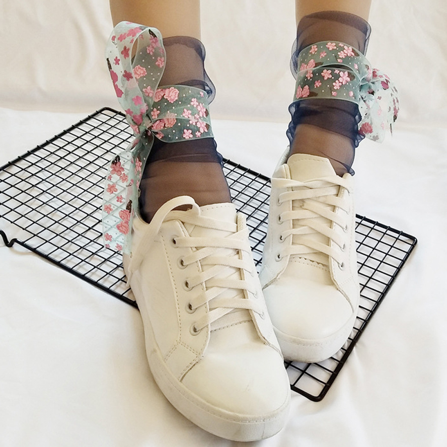 Lace Flower Bind Ultra-thin Transparent Sexy Socks Art Elegant Fairy Mesh Socks Women Japan Harajuku Calcetines Mujer