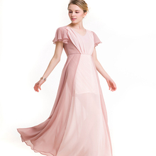 Women's new contrast color stitching V-neck short-sleeved chiffon dress fashion ladies party dress