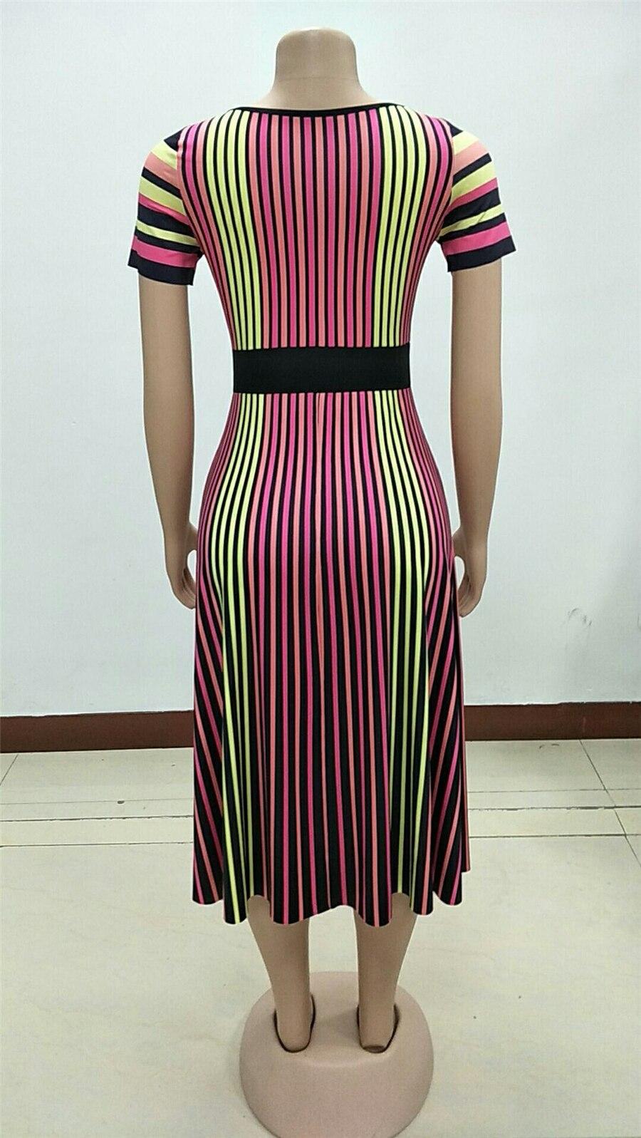 GuyuEra African Dresses For Women European Women's Dress Round Neck Lace Short-sleeved Mesh Lace Waist A Word Skirt (4)