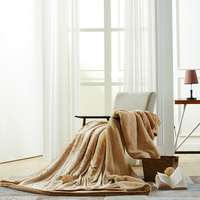 Modern Style Is Pure Color Camel Warm Blanket Coral For Sofa Air Throw Travel Manta Soft Blanket For Beds Throws Fleece Blankets