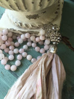 N16101506 Knot Pale Pink Jade Beads Necklace Shabby BoHo Silk Tassel Necklace