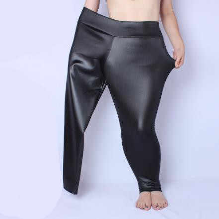 Large Women Pants 2019 Women Autumn PU Leather Tunic Fleece Pants Elastic High Waist Vintage Strench Black Pencil Trousers MF834