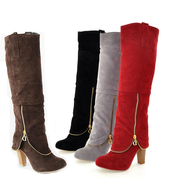 spring Boots Women black Comfortable solid Warm Velvet High-heeled shoes Knee high red Knee high heels 44 43 42 Plus Large Size