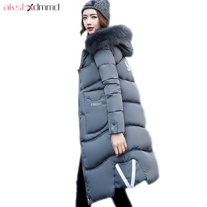 AKSLXDMMD Parka Plus Size Causal Winter Coat Female 2019 New Winter Jacket Women Print Letters Fur Hooded Thick Long Coat LH1200
