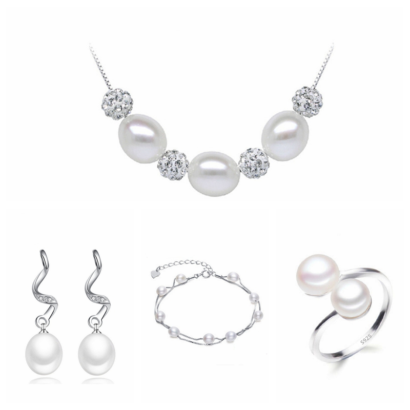 Real freshwater pearl jewelry set women natural pearl sets 925 sterling silver Wedding jewelry for women  4-X2-E8Real freshwater pearl jewelry set women natural pearl sets 925 sterling silver Wedding jewelry for women  4-X2-E8