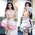 Новый глубокий v невесты юбки Слойки babydoll + носки + вуаль женщины сексуальное женское белье горячая кружева сексуальное нижнее белье эротическое белье сексуальные костюмы 156