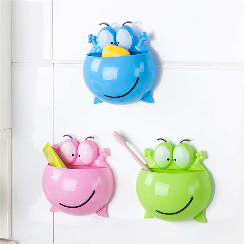 Image 3 - Cartoon Wall Mounted toothbrush Storage Rack in Shower Room Mop Organizer Holder Brush Broom Hanger Cup Toothpaste Storage Rack-in Storage Shelves & Racks from Home & Garden