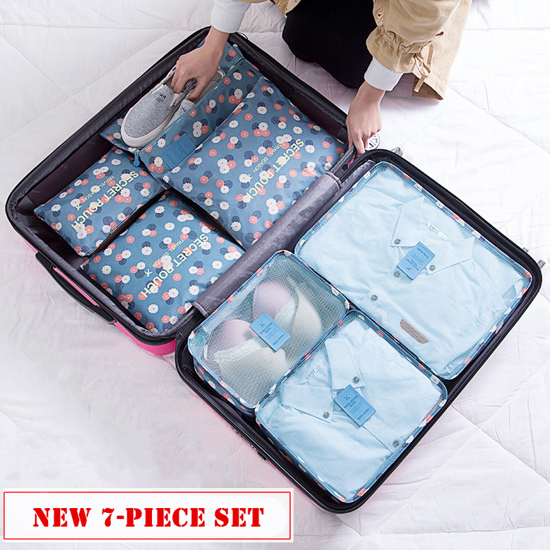 Image 5 - RUPUTIN 7Pcs/set Trip Luggage Organizer Clothes Finishing Kit Storage Bag Cosmetic toiletrie Storage Bag Home Travel Accessories-in Travel Accessories from Luggage & Bags