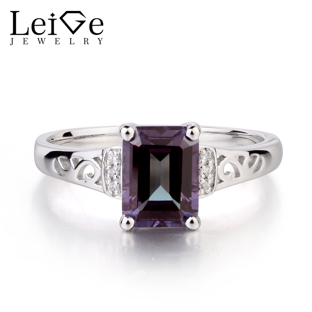 Leige Jewelry Solid 925 Sterling Silver Lab Alexandrite Ring Wedding Rings Emerald Cut Gemstone June Birthstone Gifts for Women цена
