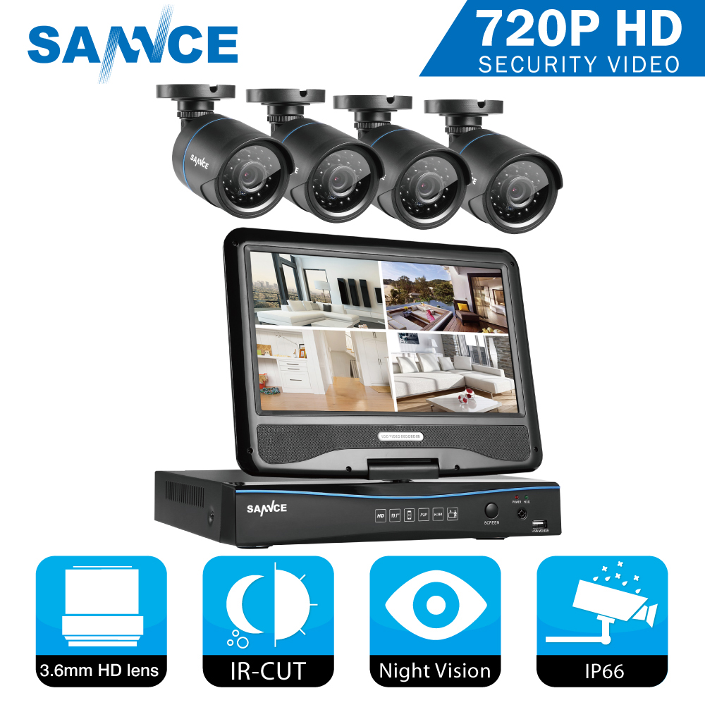 SANNCE 4CH CCTV System 10.1 inç displayer 5in1 DVR 4PCS 720P Kamera - Siguria dhe mbrojtja - Foto 1