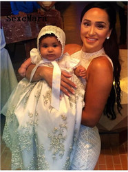 Luxury Shiny  Lace Crystals Baby Girl Baptism Gown Christening Dress Robe Baby Girls Christening Gown 3 6 9 12 15 18 24 month