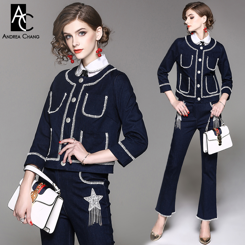 autumn winter woman outfit white lace border pockets dark blue denim jacket + beading star tassel jeans pants fashion outfit set