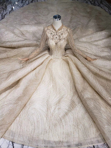 Image 5 - LS20329 ouro muçulmano vestidos de noiva de alta pescoço mangas compridas beads brilhante vestido nupcial do vestido de casamento com trem 2019 nova moda