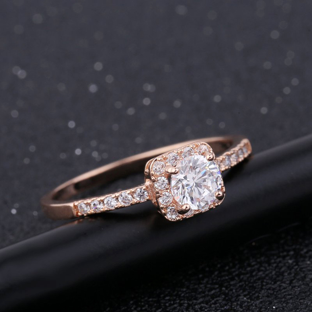 MIGGA Elegant Micro Paved Square Cubic Zirconia Ring Rose Gold Color Wedding Engagement Ring Women Gift