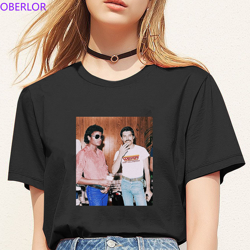 Women Freddie Mercury&Michael Jackson T Shirt Summer 2019 Casual O-Neck Short Sleeve Vogue Women Clothing Funny T Shirts Mujer