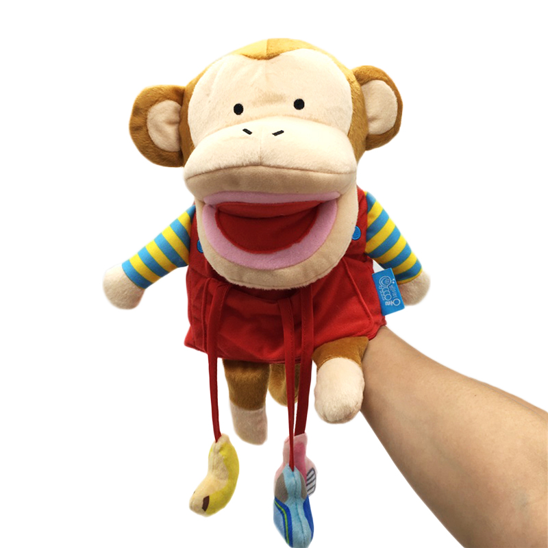 New Arrival Monkey Dollett för barn Mjuka leksaker Animal Plush Hand Docka Doll Leksaker Barnvagn Rattles Early Learning Aid Toy