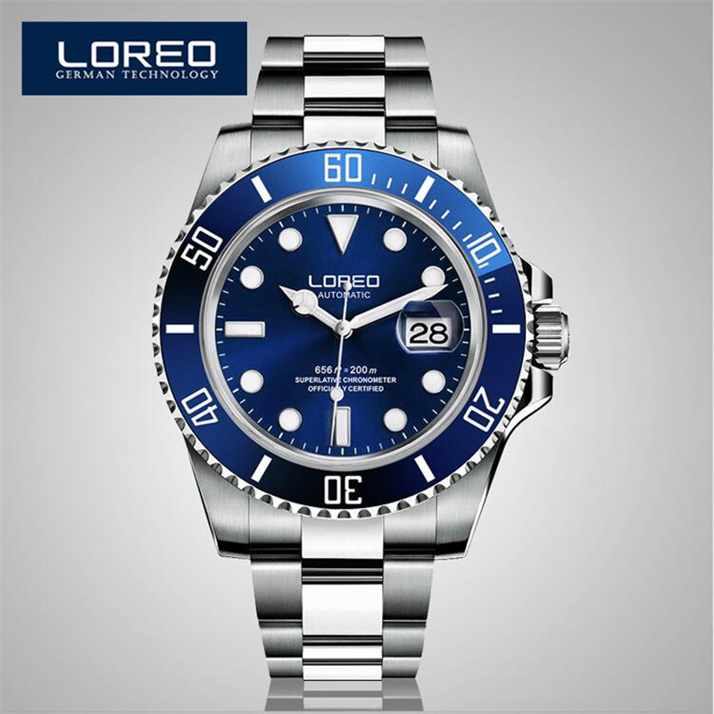 LOREO Automatic Mechanical Movements Watch Men Stainless Steel 200m Waterproof Diver Relogio Feminine Luminous Watch AB2035 loreo s automatic fashion men s mechanical wrist watch waterproof stainless steel belt luminous chronograph diver watch ab2034