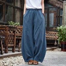 Повседневные стильные хлопковые льняные женские брюки, весенние Летние Новые однотонные Женские винтажные Широкие штаны с эластичной талией