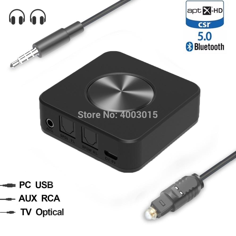 Bluetooth 5.0 CSR8675 Aptx HD Low Latency Optical SPDIF RCA Aux Stereo 3.5mm Audio Transmitter Receiver Wireless TV Adapter