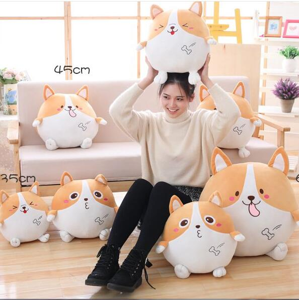 65cm Cute corgi dog cute puppy Stuffed Plush Toy Doll Plush Pillow round cushion winter pillow birthday cute labrador big plush toy lying dog doll search and rescue stuffed toys children birthday gift pillow