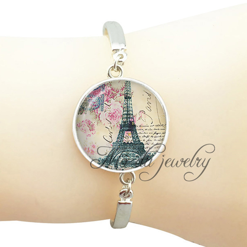 Buy French Eiffel Tower cuff bracelet bangle Eiffel Tower pendant charms,glass cabochon dome art photo jewelry vintage letter bangle for $2.69 in AliExpress store