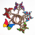 New Arrival Fashion  Personality  Butterfly Key Chain Zinc Alloy Not Fading Key Ring Flash Bright Metal Keychain Hot  Selling!