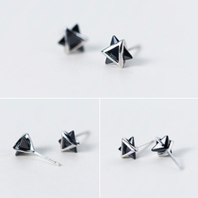 Geometric Women's Silver Stud Earrings