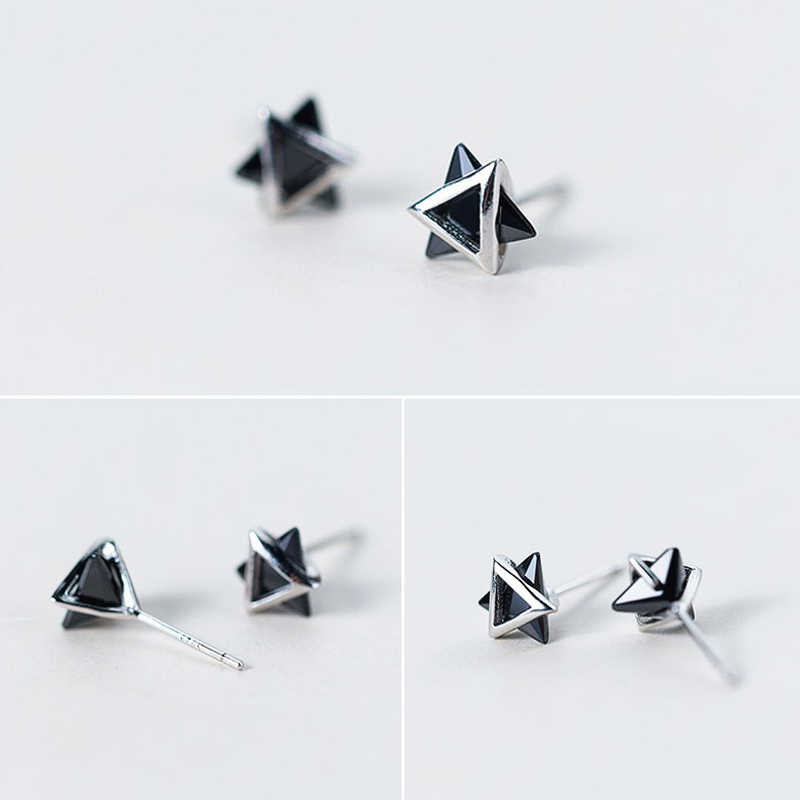 6a3dbf5ab ... TOYOOSKY 925 Sterling Silver 3D Solid Triangle Geometry Stud Earrings  for Women Men Black White Choices ...