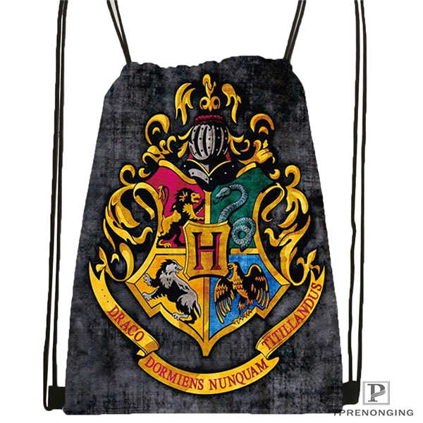Custom harry potter hufflepuff Drawstring Backpack Bag Cute Daypack Kids Satchel Black Back 31x40cm 20180611 02
