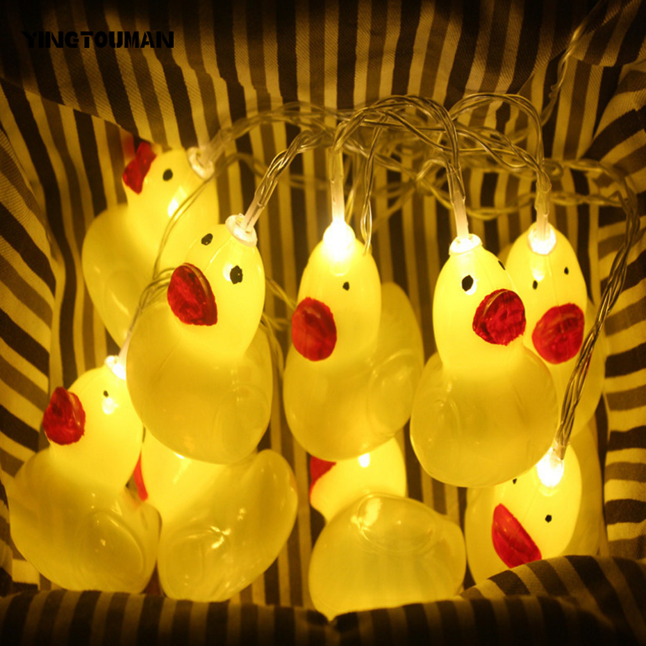 YINGTOUMAN Cute Yellow Duck Type LED Lamp String Light Garden Decoration Outdoor Party Wedding Lighting 1.5m 10led usb/batttety