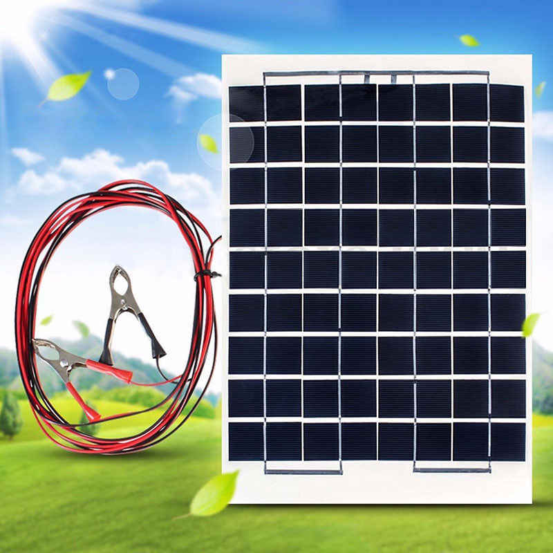 New Polycrystalline Cells DIY Energy Solar Panel Battery Module 12V 10W With Epoxy Resin + 2pcs Alligator Clips + 4m Cable