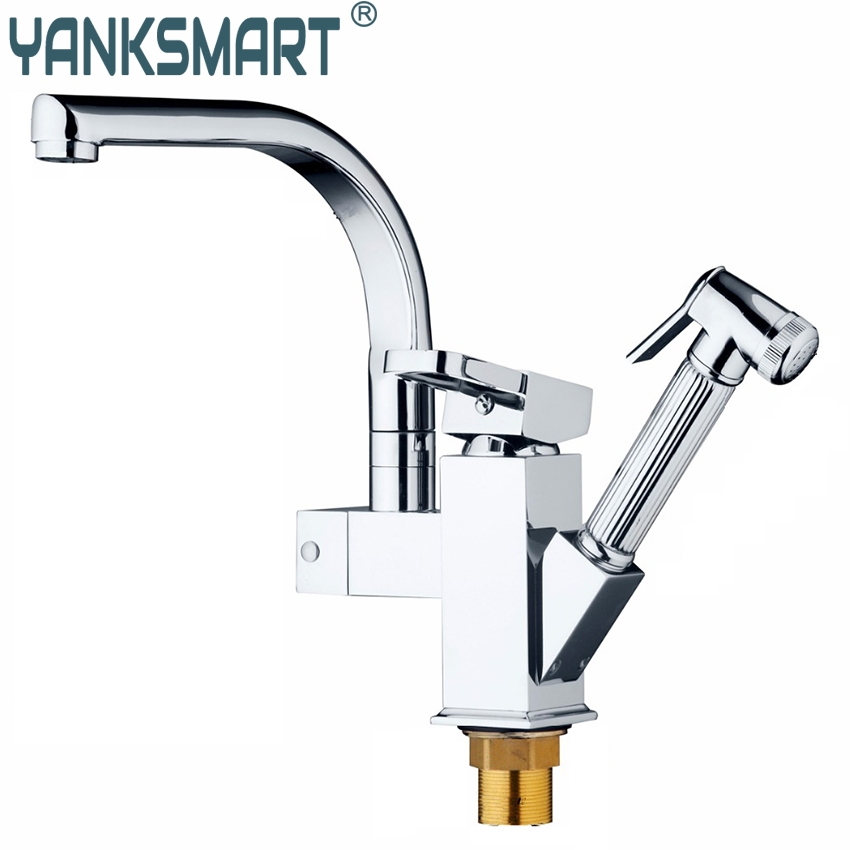 YANKSMART Chrome Brass Kitchen Faucet Pull Out Vessel Sink Mixer Swivel Spout Tap Deck Mounted Kitchen Single Handle Faucet стоимость