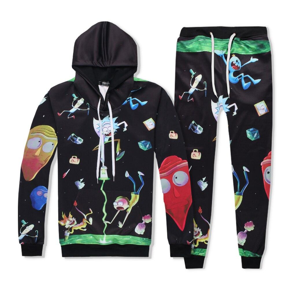 Rick& Morty The space walk sweats tracksuit Harajuku men women winter casual clother 3d hoody&pants 2 pieces size S-XXL
