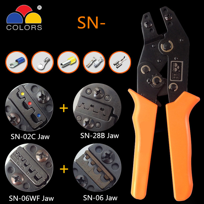 COLORS SN-02C SN-28B SN-48B Mini European Straight Multi jaw terminal Crimping plier tool 0.25-6mm2 hand tools Crimper pliers цена и фото