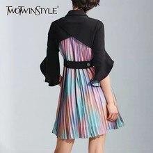 TWOTWINSTYLE Pileli Patchwork Elbise Kadınlar Için Yaka Yaka Flare Kol Yüksek Bel Mini Elbiseler Kadın Moda Yaz 2019