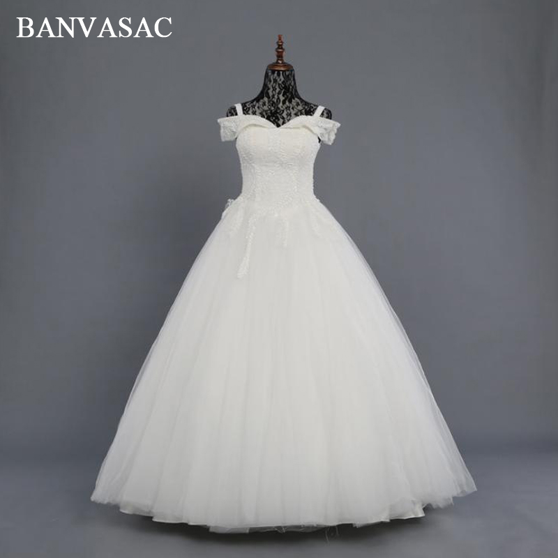 BANVASAC Vintage 2018 Real Photos Beadings Ball Gown Wedding Dresses Boat Neck Lace Appliques Embroidery Bridal Gowns