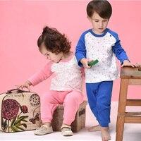2 pcs/lot Enfants Complète Manches Vêtements Set Garçons Filles Homewear O-cou Printemps Automne Casual Vêtements Enfants Détente 4 T/Y 5 T