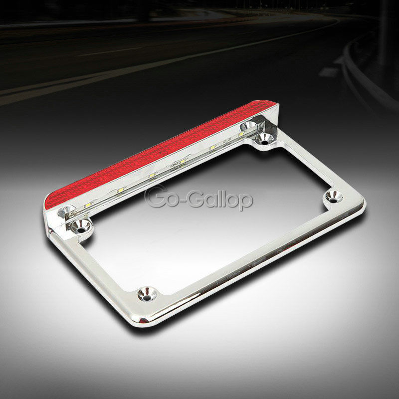 Chrome Motorrad Aluminium Nummernschild Rahmen Led bremslicht Für ...