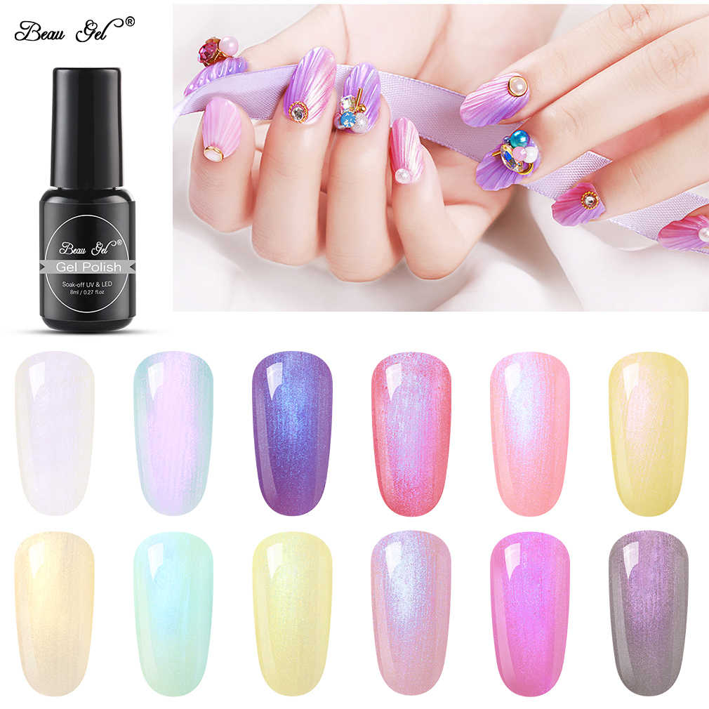 Beau jel 8ml kabuk Mermaid UV jel vernik yarı kalıcı inci Glitter hibrid vernik jelpolish Nail Art jel lehçe manikür