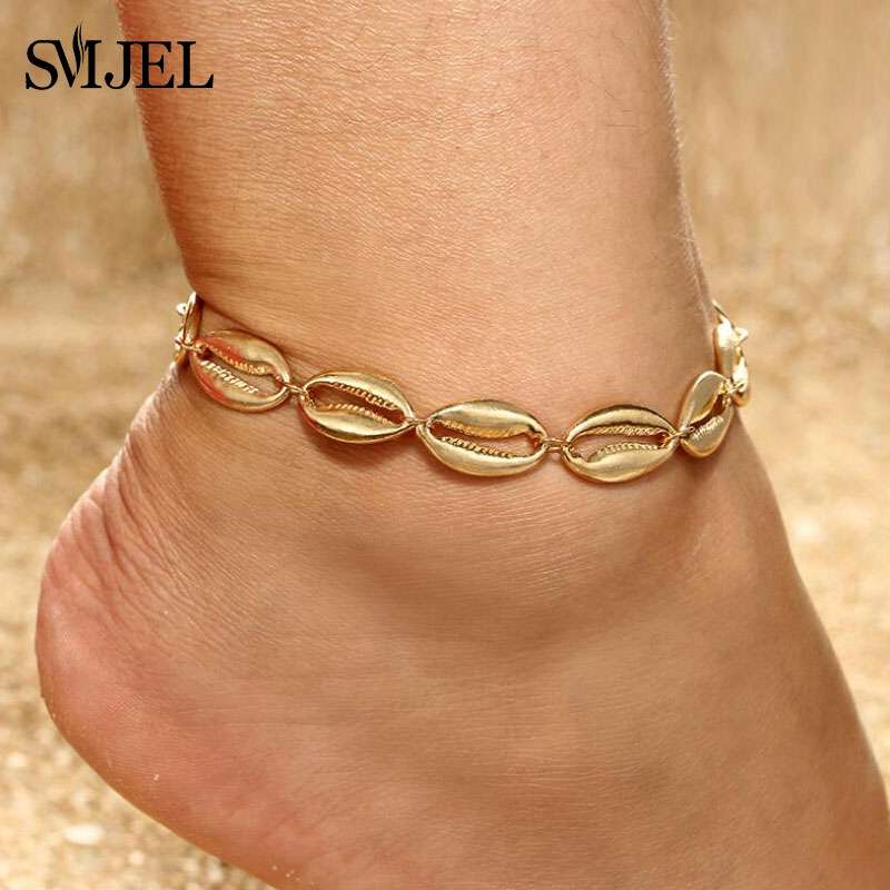 da87044a24a4a US $0.92 30% OFF|SMJEL New Fashion Seashell Anklet for Women Girl Metal  Beach Shell Charm Anklets Bracelet Bohemia Foot Jewelry Pulseras-in Anklets  ...