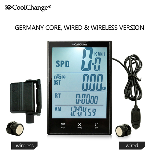 CoolChange Wireless Bike Computer Speedometer Odometer Rainproof  Cycling Bicycle Computer Bike Measurable temperature Stopwatch