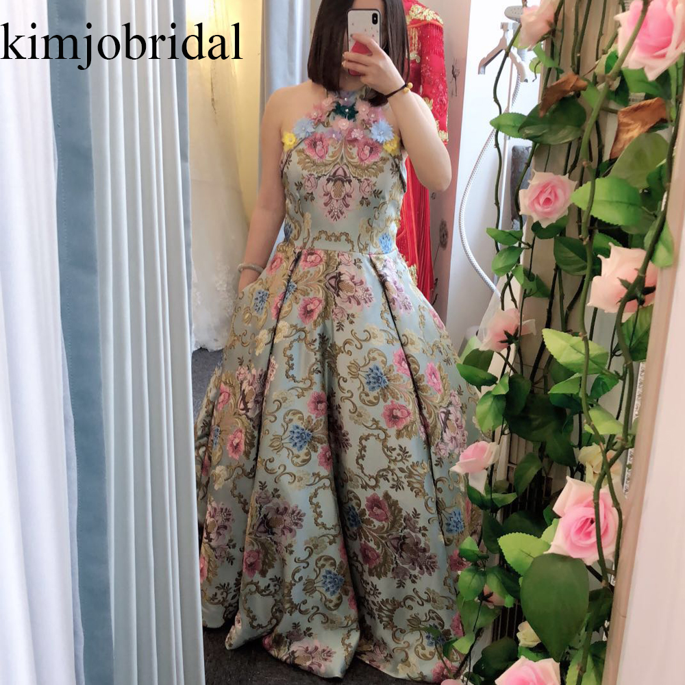 SuperKimJo Embroidery Lace   Prom     Dresses   2019 Ball Gown Vestidos Graduacion Mujer Handmade Flowers Halter Elegant   Prom   Gown