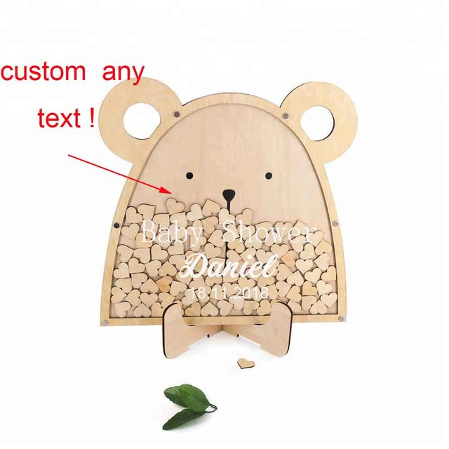 Personalized Baby shower decoration wood cute bear shaped guest book Baby Stroller Baby Stroller Birth Gift