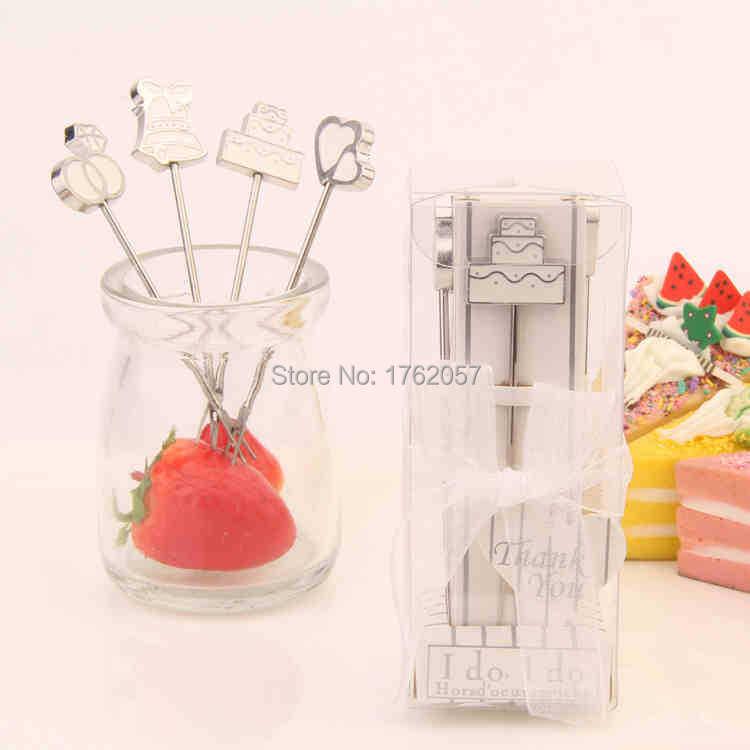 Masal paslanmaz çelik meyve çatal 20 kutu = 20 takım Düğün - Tatiller ve Partiler Için - Fotoğraf 1