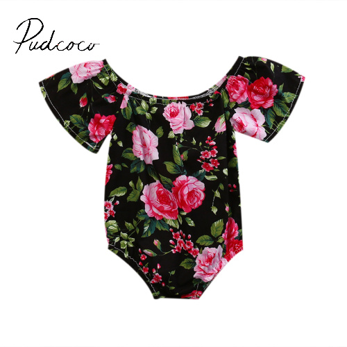 pudcoco 2017 summer floral bulk pullover Sweet Baby Girls Kids Sleeveless Romper Jumpsuit Toddler Summer Clothes Outfits 6-24M  2017 newborn baby rompers girls summer clothes sweet baby girls kids sleeveless romper kids girls blue jumpsuit clothes outfits