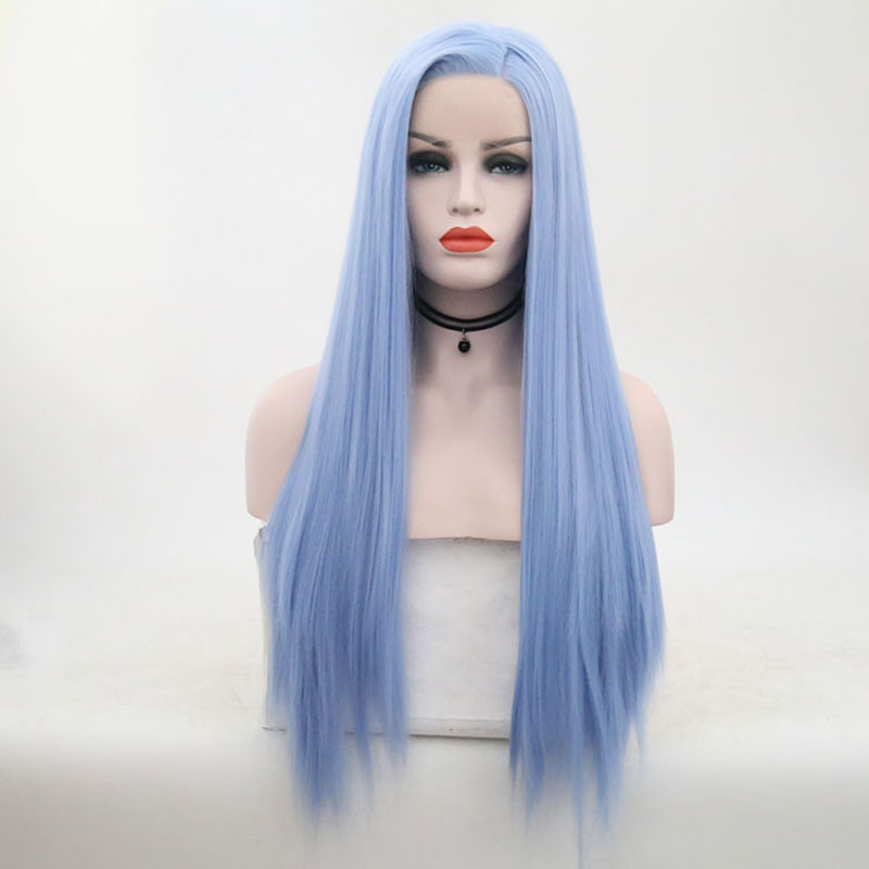 Bombshell Sky Blue Straight Synthetic Hand Tied Lace Front Wig Glueless Heat Resistant Fiber Hair Side