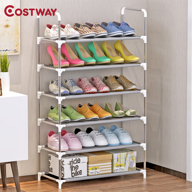 COSTWAY 6-Tier Non-woven Shoes Rack Shoe Cabinets Stand Shelf Shoes Organizer Living Room Bedroom Storage Furniture W0252 12 grid diy assemble folding cloth non woven shoe cabinet furniture storage home shelf for living room doorway shoe rack