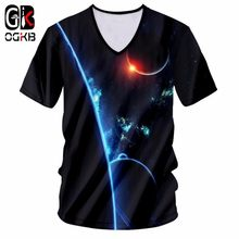 OGKB New Men Summer Tops Galaxy Space Printed 3d Tshirt Man Hiphop V Neck T Shirt Casual Breathable T-shirt Plus Size Tee Shirt(China)