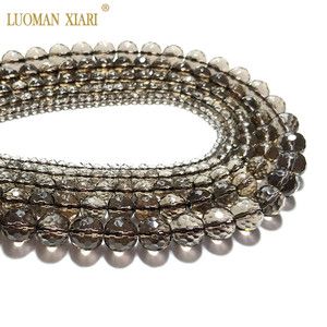 Wholesale Faceted Smoky Quartzs Crystal Natural Stone Beads For Jewelry Making DIY Bracelet Necklace 4/6/8/10/12mm Strand 15''(China)